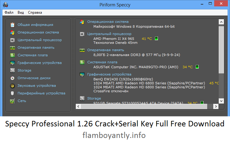 Speccy Professional 1.26 Crack+Serial Key Full Free Download