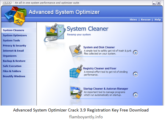 Advanced System Optimizer Crack 3.9 Registration Key Free Download