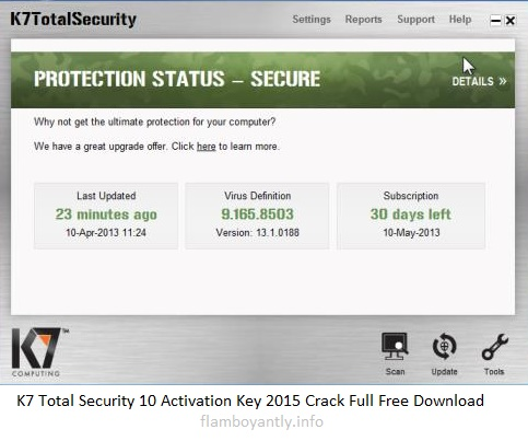 K7 Total Security 10 Activation Key 2015 Crack Full Free Download