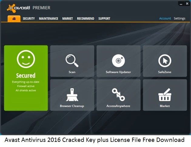 Avast Antivirus 2016 Cracked Key plus License File Free Download